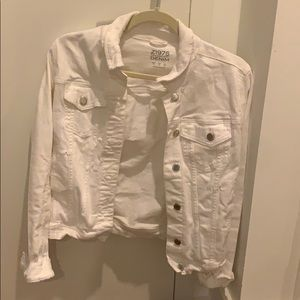 Zara White Denim Jacket
